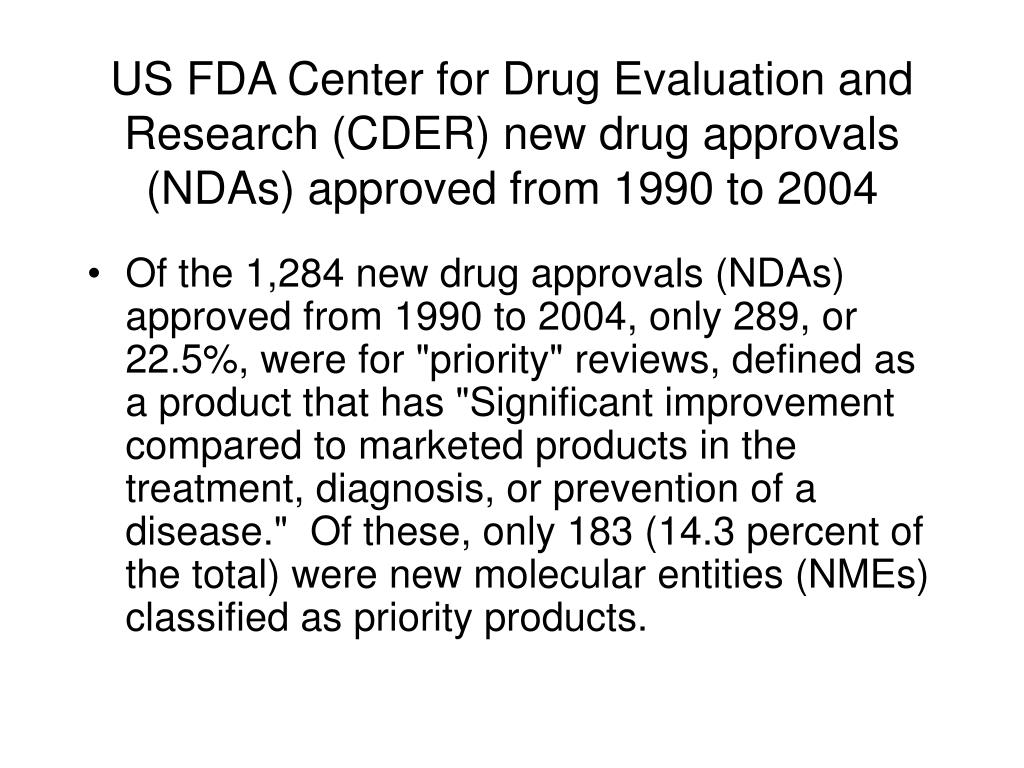 US FDA Center for Drug Evaluation and Research (CDER) new drug approvals (NDAs) approved from 1990 to 2004