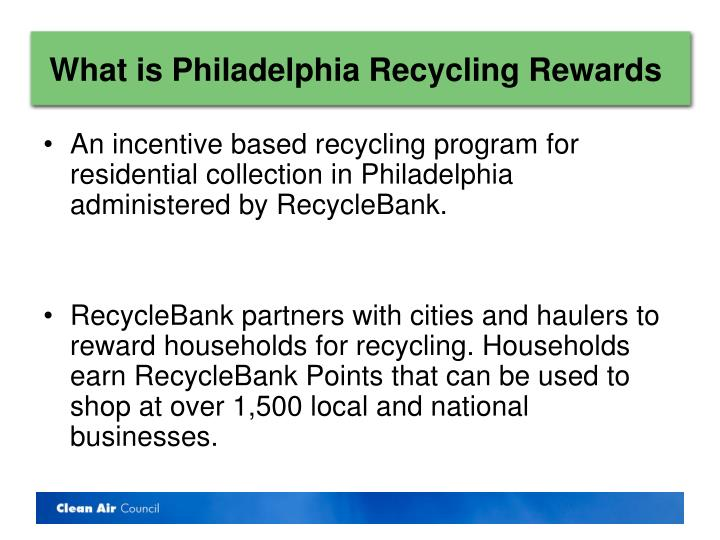 What is philadelphia recycling rewards
