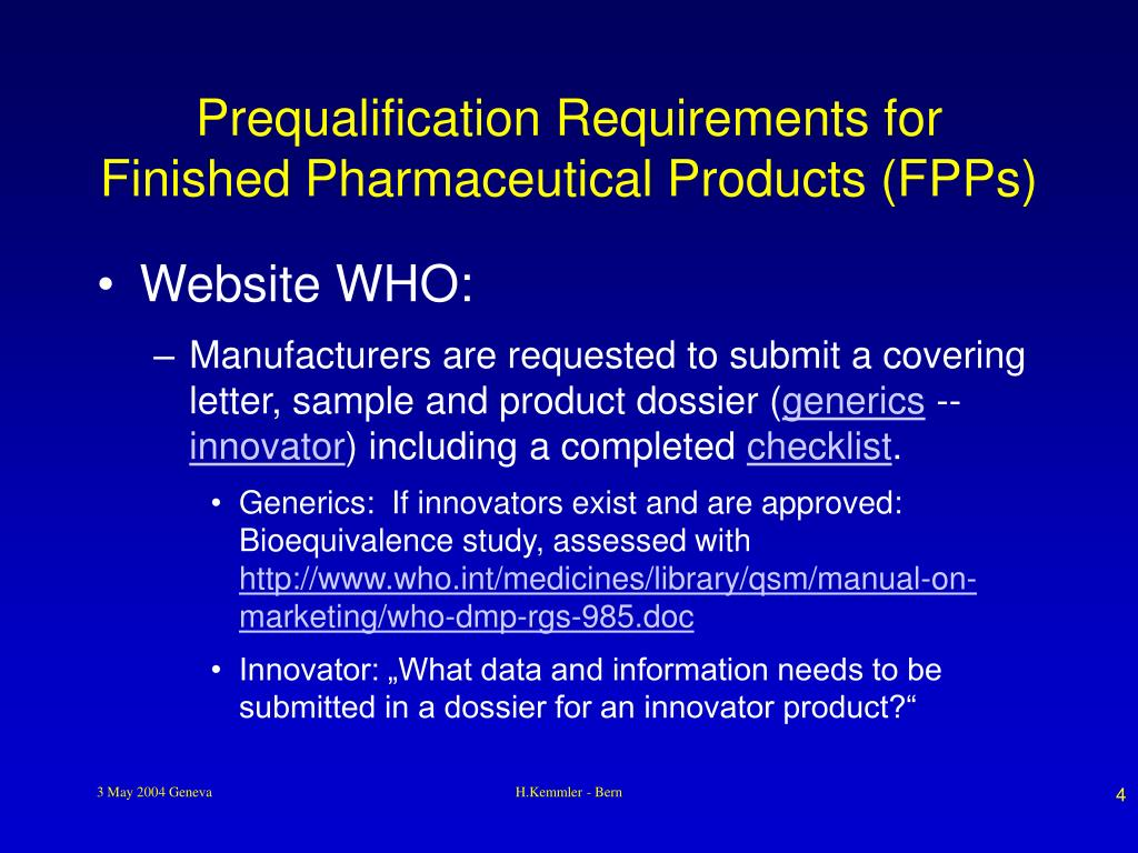 Prequalification Requirements for Finished Pharmaceutical Products (FPPs)