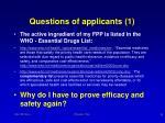 questions of applicants 1