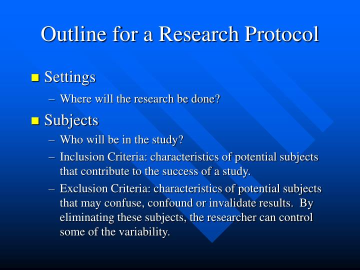 Outline for a Research Protocol