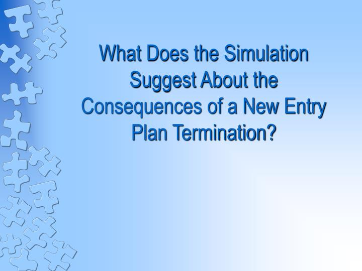 What Does the Simulation  Suggest About the Consequences of a New Entry Plan Termination?
