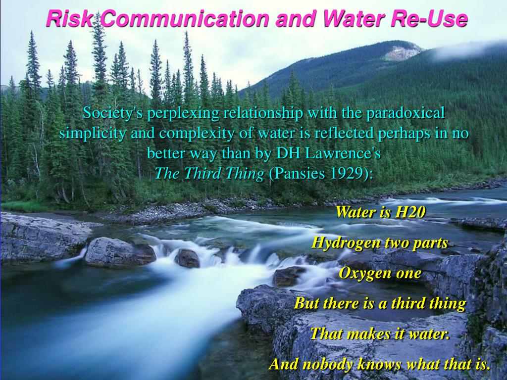 Risk Communication and Water Re-Use