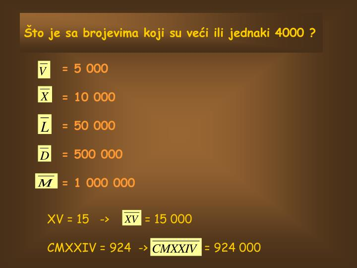 Što je sa brojevima koji su veći ili jednaki 4000 ?