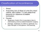classification of incontinence