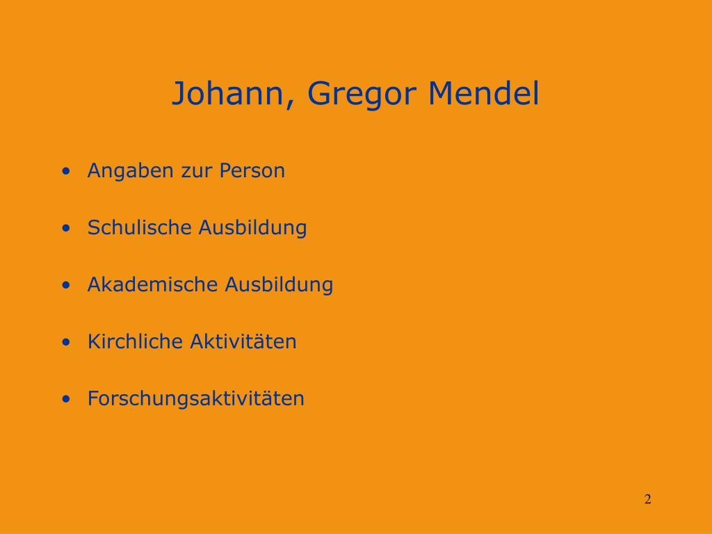 Biographie Von Johann Gregor Mendel