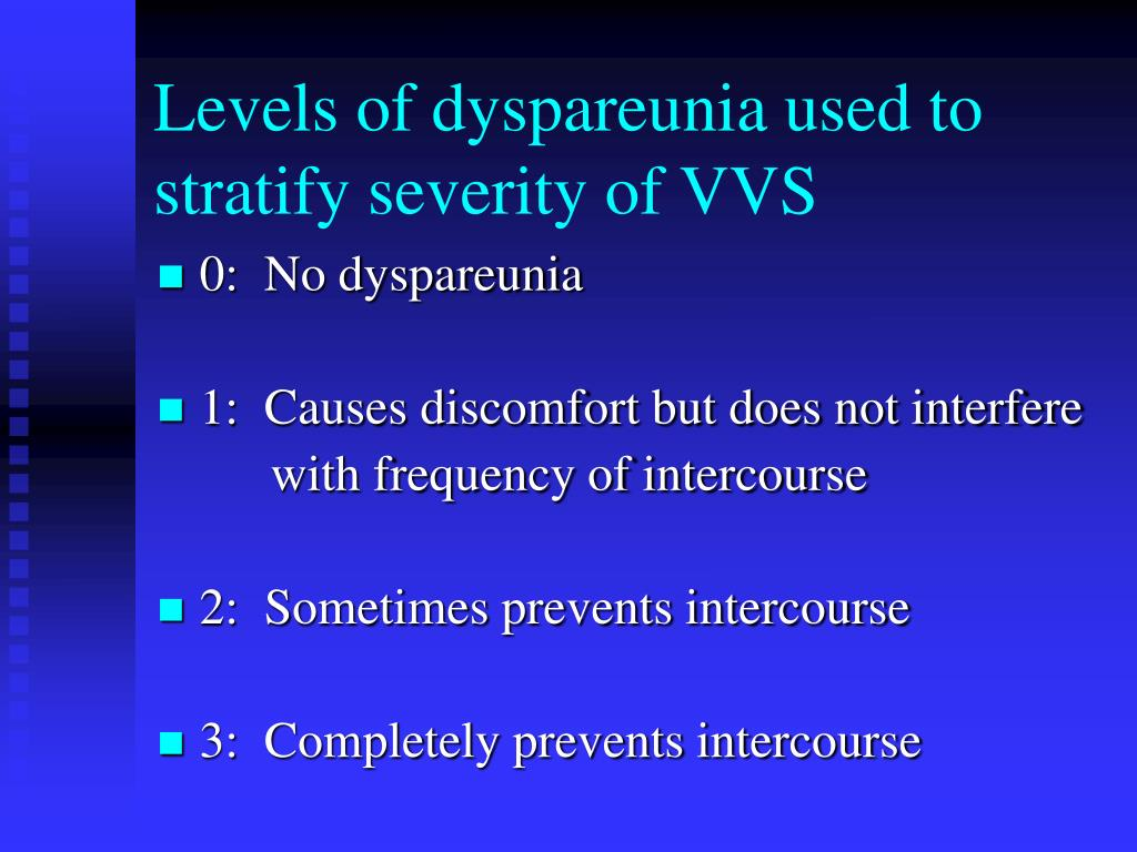 Levels of dyspareunia used to stratify severity of VVS