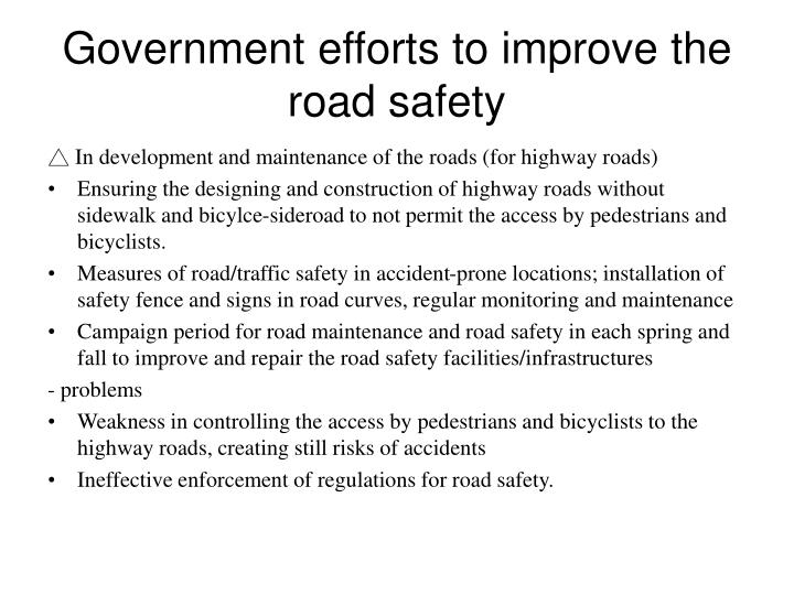 Government efforts to improve the road safety