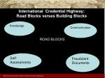 international credential highway road blocks verses building blocks