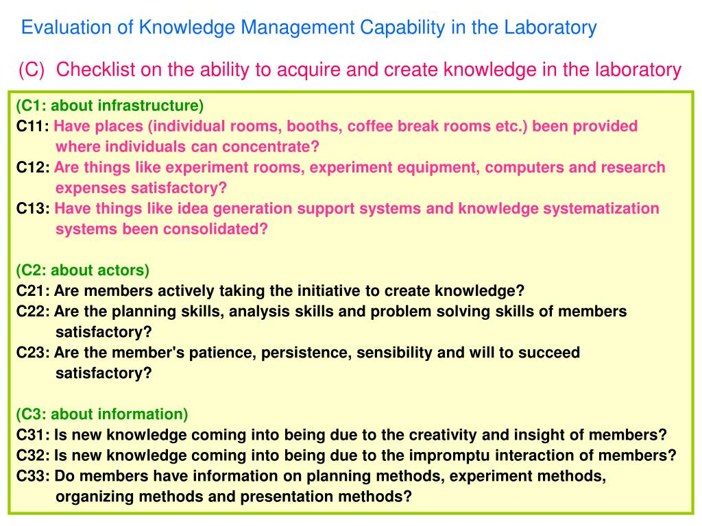 Evaluation of Knowledge Management Capability in the Laboratory