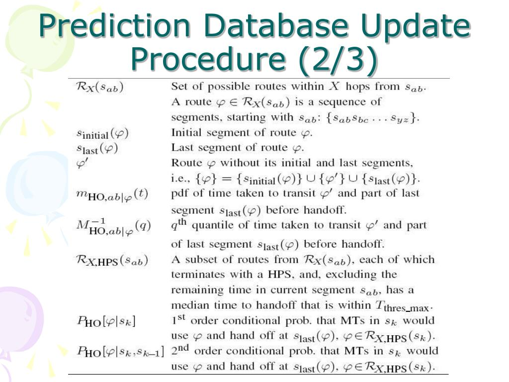 Prediction Database Update Procedure (2/3)