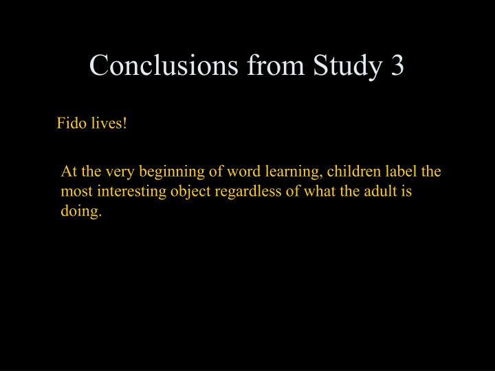 Conclusions from Study 3