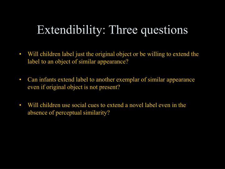 Extendibility: Three questions