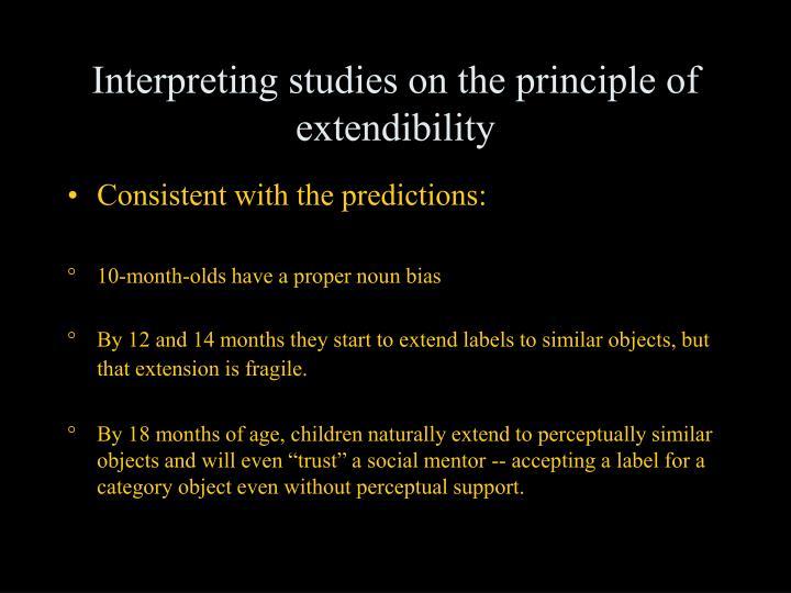 Interpreting studies on the principle of extendibility