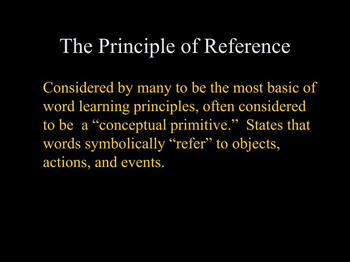 The Principle of Reference