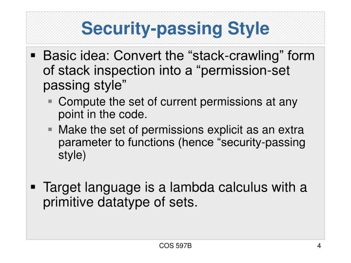 Security-passing Style