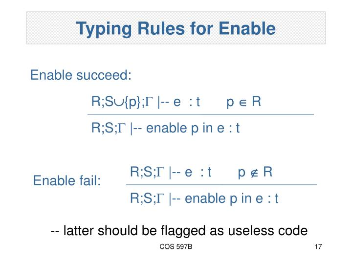 Typing Rules for Enable