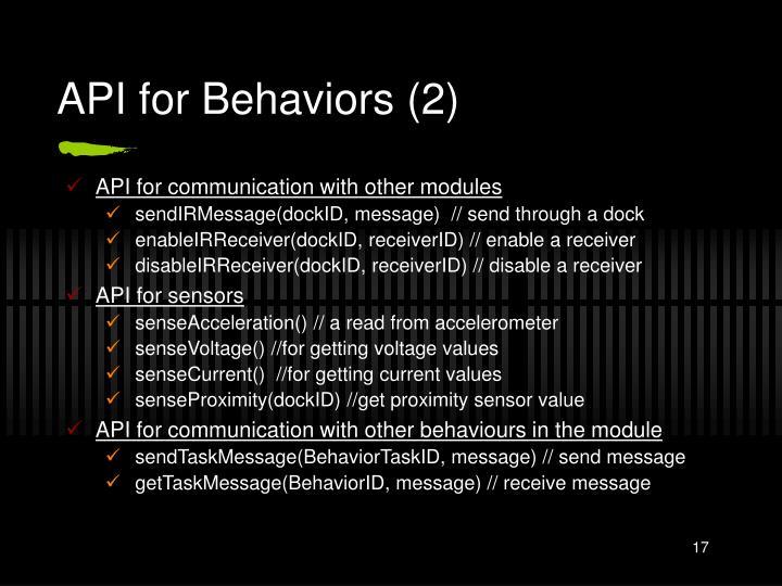 API for Behaviors (2)