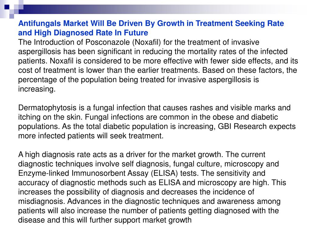 Antifungals Market Will Be Driven By Growth in Treatment Seeking Rate and High Diagnosed Rate In Future