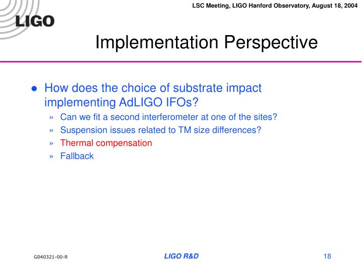 Implementation Perspective