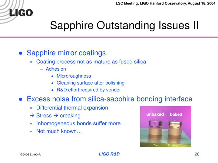 Sapphire Outstanding Issues II