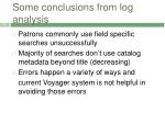 some conclusions from log analysis