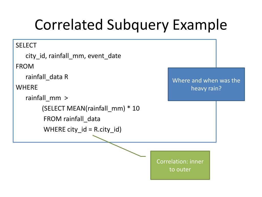 PPT - Correlated Subqueries in PROC SQL PowerPoint