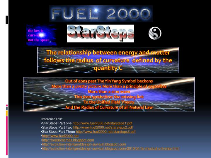 The relationship between energy and matter follows the radius  of curvature  defined by the  quantit...