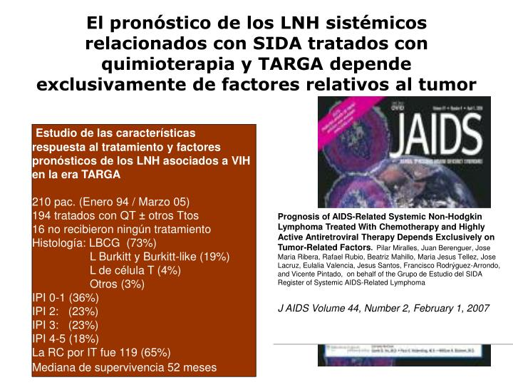Prognosis of AIDS-Related Systemic Non-Hodgkin