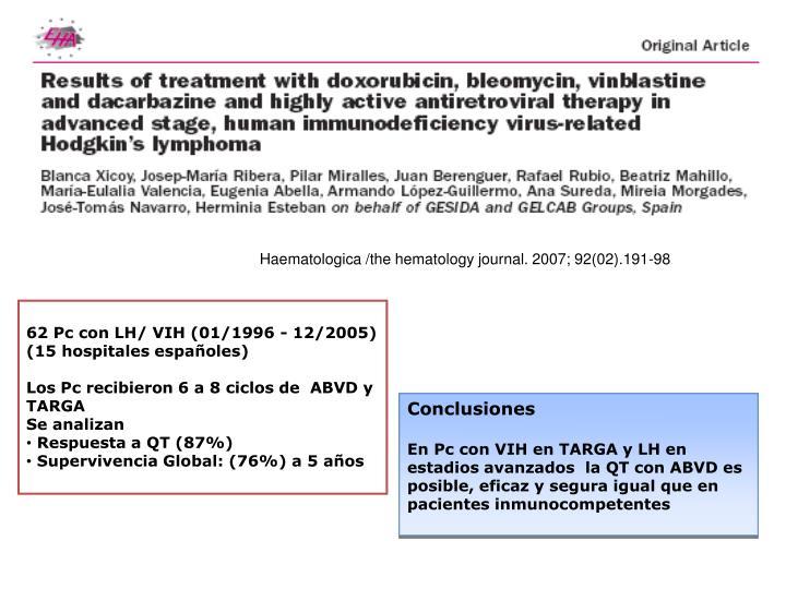 Haematologica /the hematology journal. 2007; 92(02).191-98