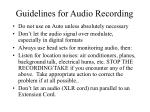 guidelines for audio recording
