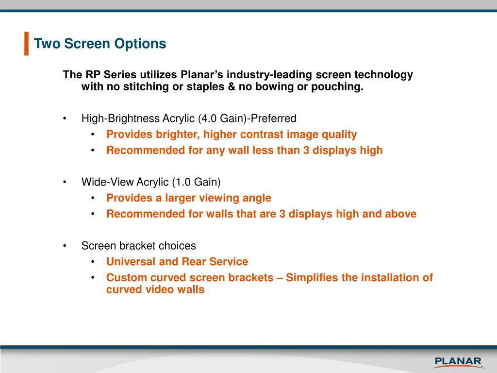 Two Screen Options