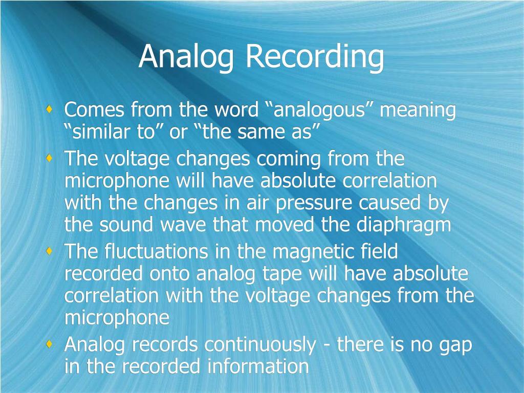 Analog Recording