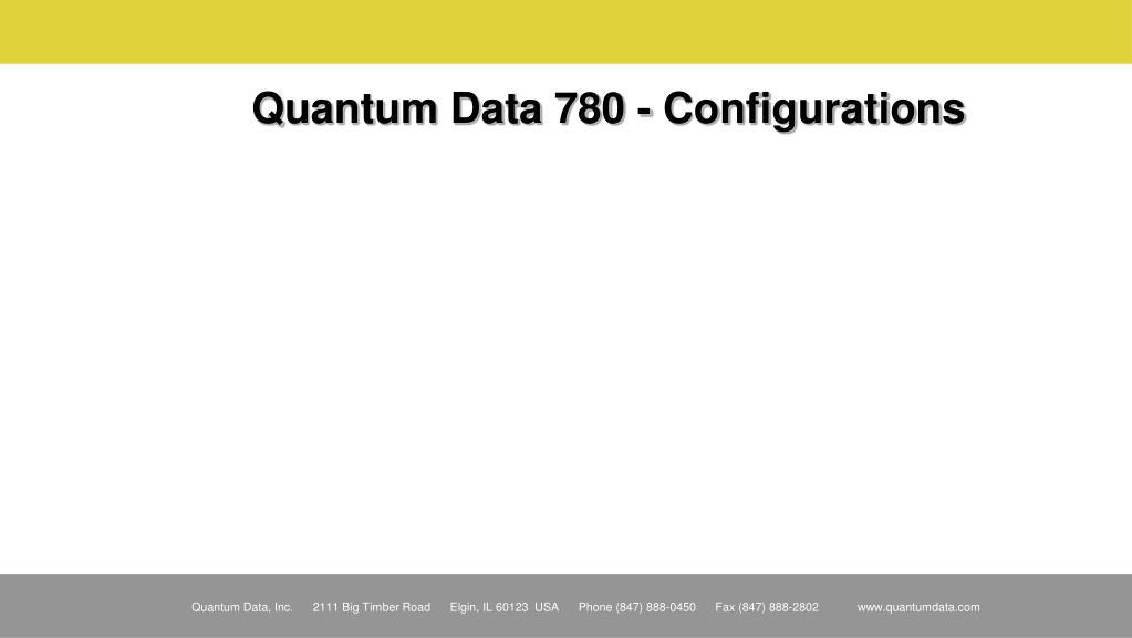 Quantum Data 780 - Configurations