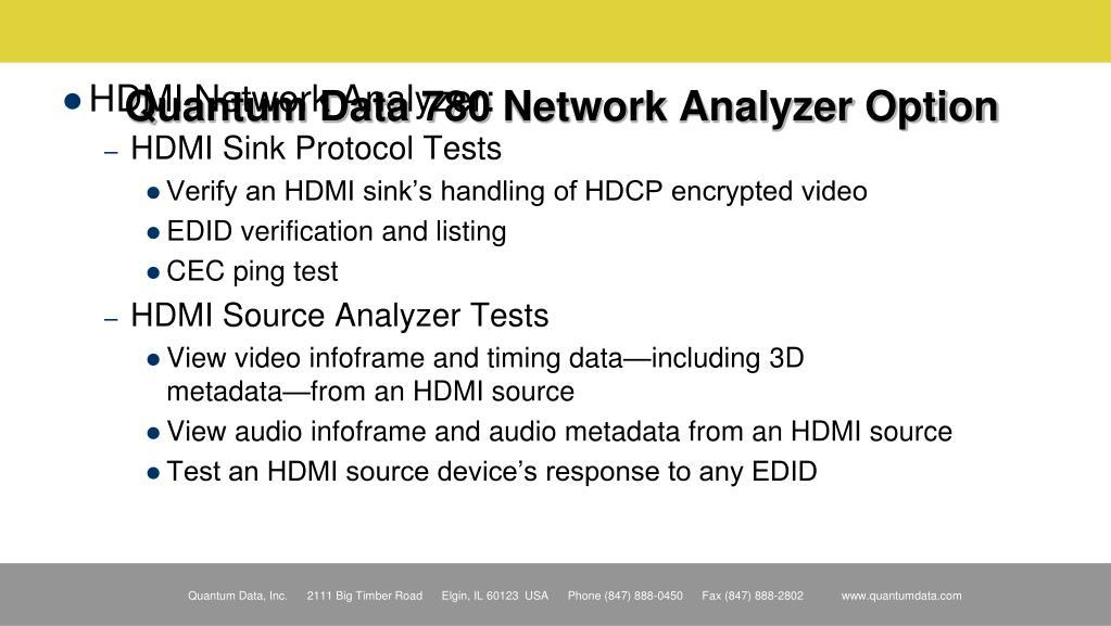 Quantum Data 780 Network Analyzer Option