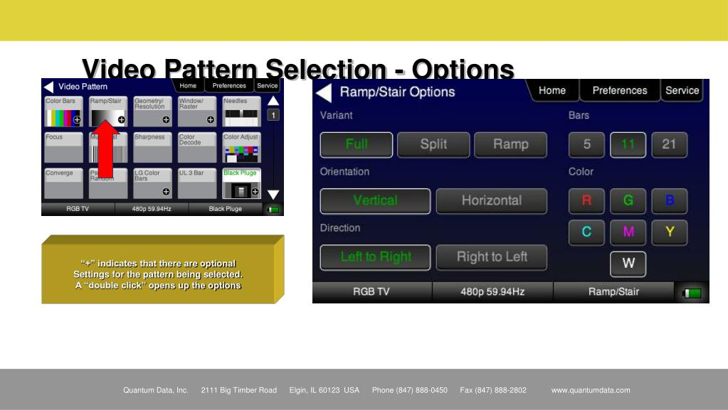 Video Pattern Selection - Options