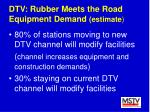 dtv rubber meets the road equipment demand estimate74