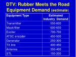 dtv rubber meets the road equipment demand estimate76