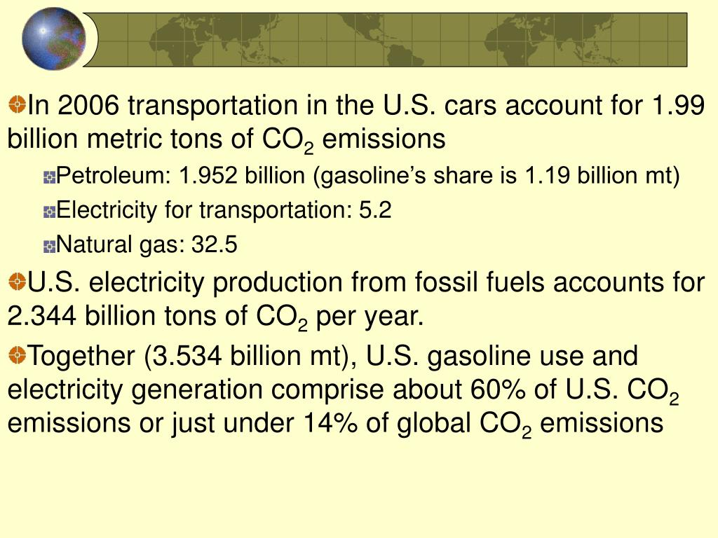 In 2006 transportation in the U.S. cars account for 1.99 billion metric tons of CO
