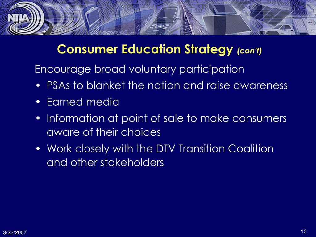 Consumer Education Strategy