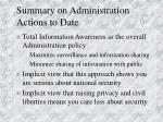 summary on administration actions to date