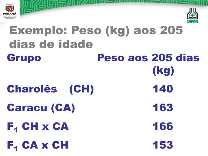 Exemplo: Peso (kg) aos 205 dias de idade