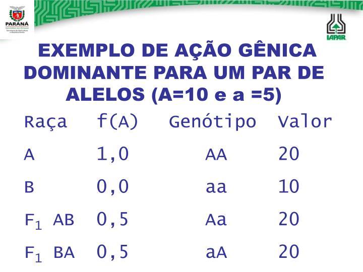 EXEMPLO DE AÇÃO GÊNICA DOMINANTE PARA UM PAR DE ALELOS (A=10 e a =5)
