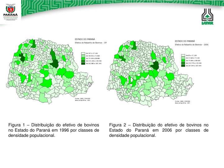 Figura 1 – Distribuição do efetivo de bovinos no Estado do Paraná em 1996