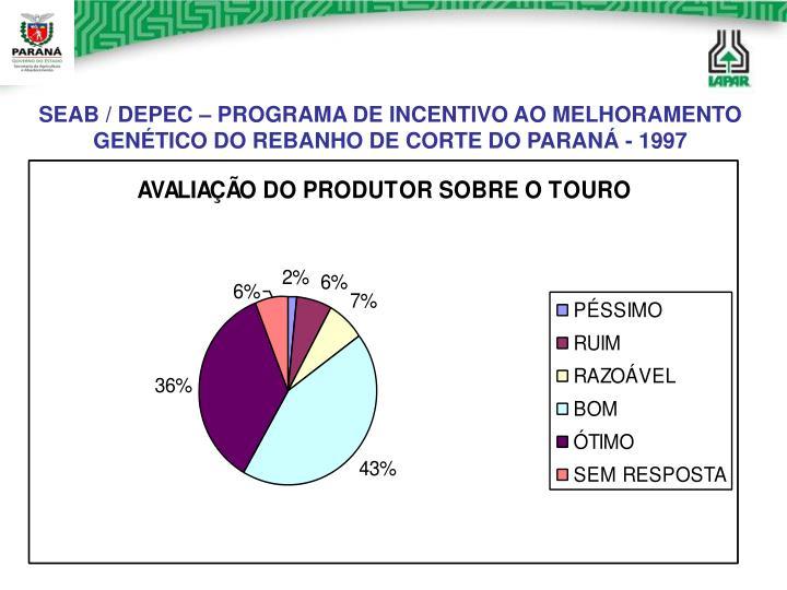 SEAB / DEPEC – PROGRAMA DE INCENTIVO AO MELHORAMENTO GENÉTICO DO REBANHO DE CORTE DO PARANÁ - 1997