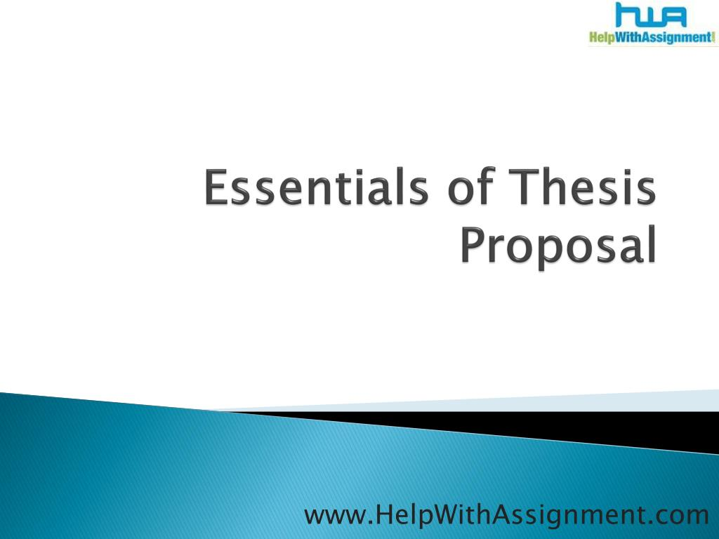 essentials of thesis proposal l.