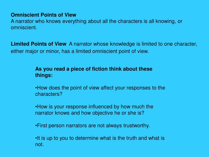 omniscient point of view in this Point of view examples or, the third-person point of view can be omniscient-we know what all characters in the story are doing and thinking.