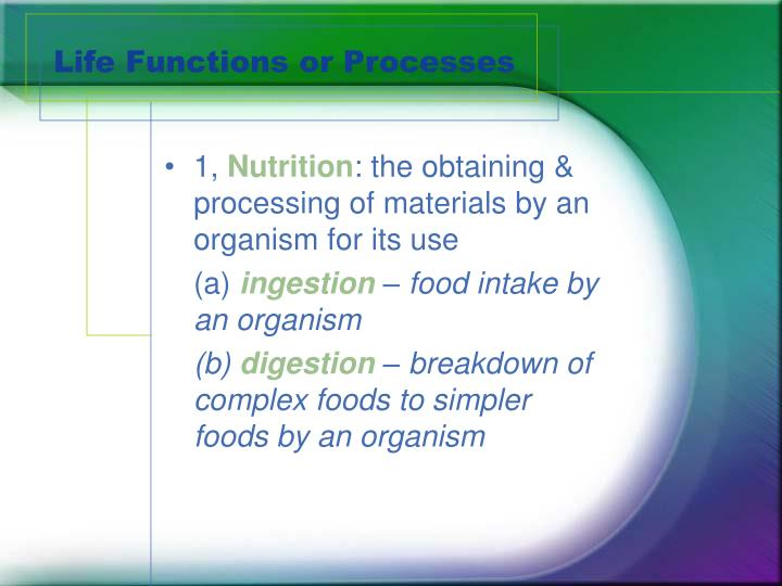 Life functions or processes1