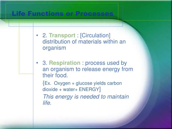 Life functions or processes2