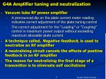 g4a amplifier tuning and neutralization